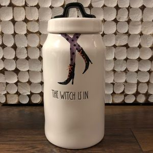 """NWT RAE DUNN """"The Witch is in """" skinny canister."""